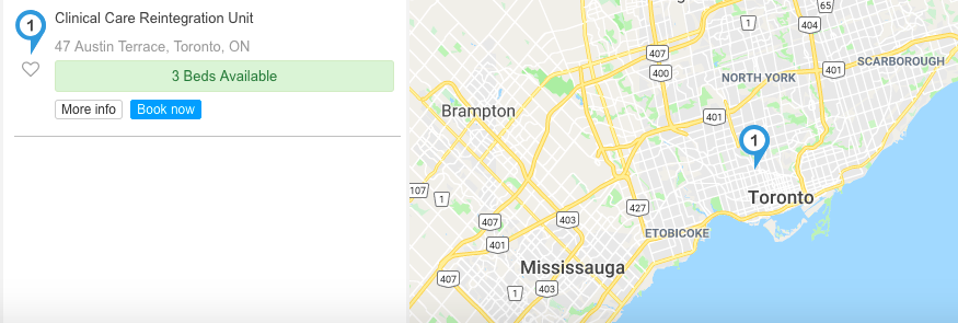 Search for services displays number of beds available in the program